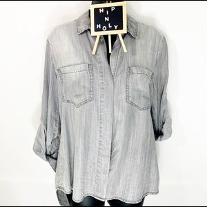 CLOTH & STONE SPLIT BACK BUTTON DOWN GRAY XSMALL